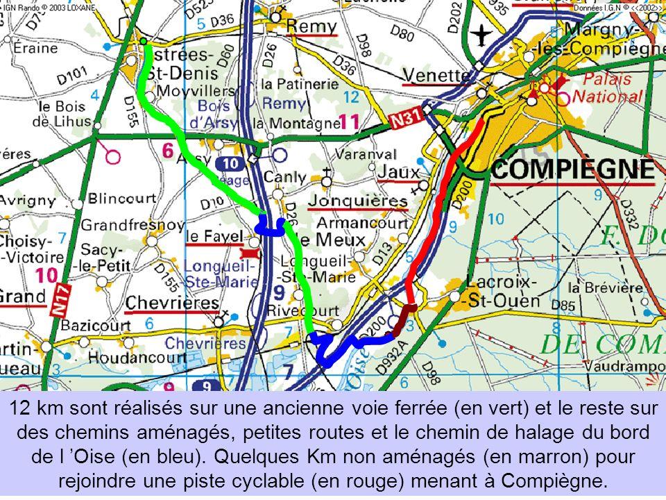 12 km sont réalisés sur une ancienne voie ferrée (en vert) et le reste sur des chemins aménagés, petites routes et le chemin de halage du bord de l Oi