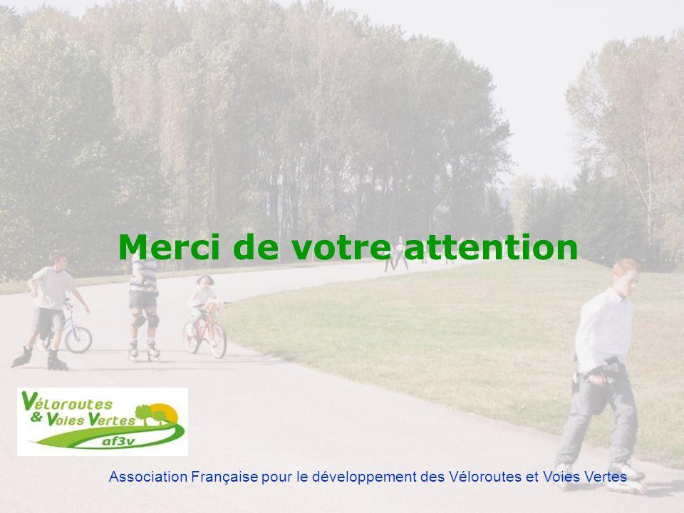 Association Française pour le développement des Véloroutes et Voies Vertes Merci de votre attention