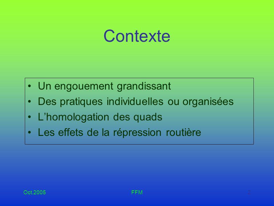 Oct.2005FFM3 Contexte (suite) Sans accompagnement de ces pratiques, risque de : conflits dusage atteintes sur lenvironnement À terme : remise en cause des pratiques de compétition et de loisirs
