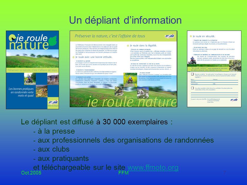 Oct.2005FFM8 Affiches et stickers Diffusion de 17500 affiches : - aux clubs - aux professionnels des organisations de randonnées Et des stickers :