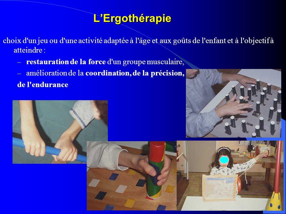 LErgothérapie choix d'un jeu ou d'une activité adaptée à l'âge et aux goûts de l'enfant et à l'objectif à atteindre : – restauration de la force d'un