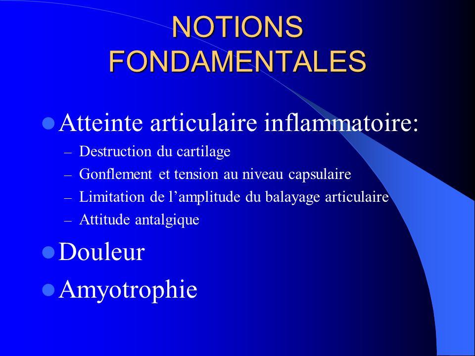 NOTIONS FONDAMENTALES Atteinte articulaire inflammatoire: – Destruction du cartilage – Gonflement et tension au niveau capsulaire – Limitation de lamp