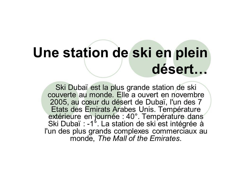 Une station de ski en plein désert… Ski Dubaï est la plus grande station de ski couverte au monde. Elle a ouvert en novembre 2005, au cœur du désert d