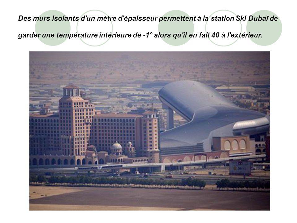 Des murs isolants d'un mètre d'épaisseur permettent à la station Ski Dubaï de garder une température intérieure de -1° alors qu'il en fait 40 à l'exté