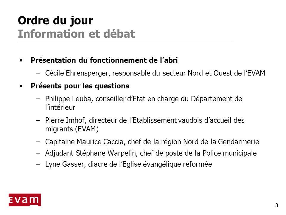 3 Ordre du jour Information et débat Présentation du fonctionnement de labri –Cécile Ehrensperger, responsable du secteur Nord et Ouest de lEVAM Prése