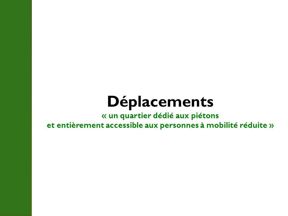 Déplacements « un quartier dédié aux piétons et entièrement accessible aux personnes à mobilité réduite »