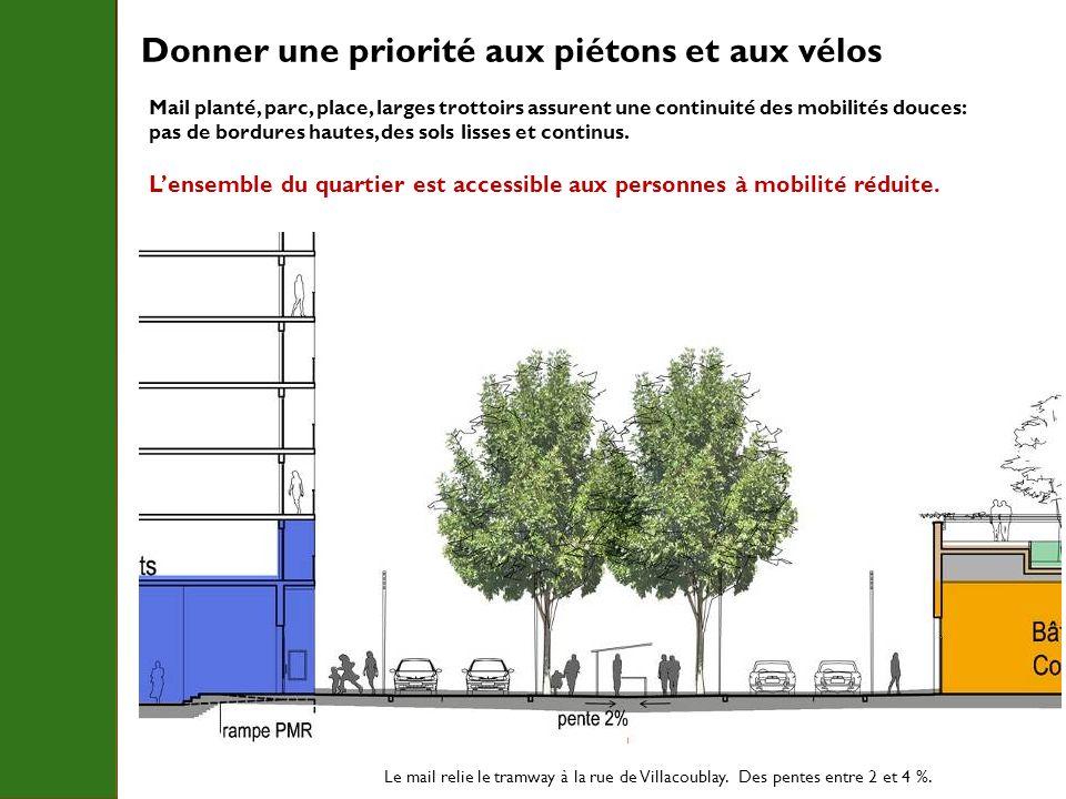 Le mail relie le tramway à la rue de Villacoublay. Des pentes entre 2 et 4 %. Mail planté, parc, place, larges trottoirs assurent une continuité des m