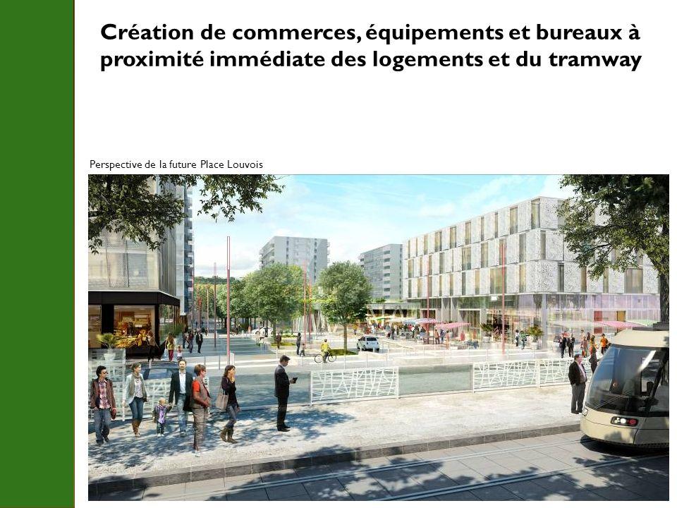 Création de commerces, équipements et bureaux à proximité immédiate des logements et du tramway Perspective de la future Place Louvois