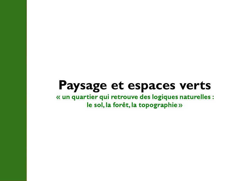 Paysage et espaces verts « un quartier qui retrouve des logiques naturelles : le sol, la forêt, la topographie »