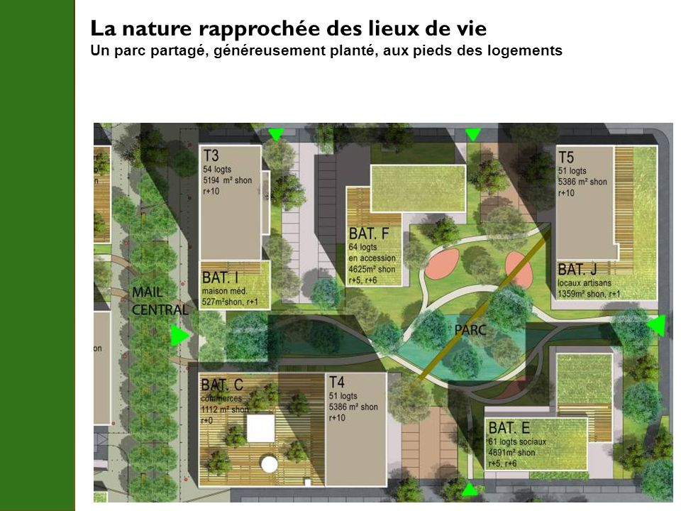 La nature rapprochée des lieux de vie Un parc partagé, généreusement planté, aux pieds des logements