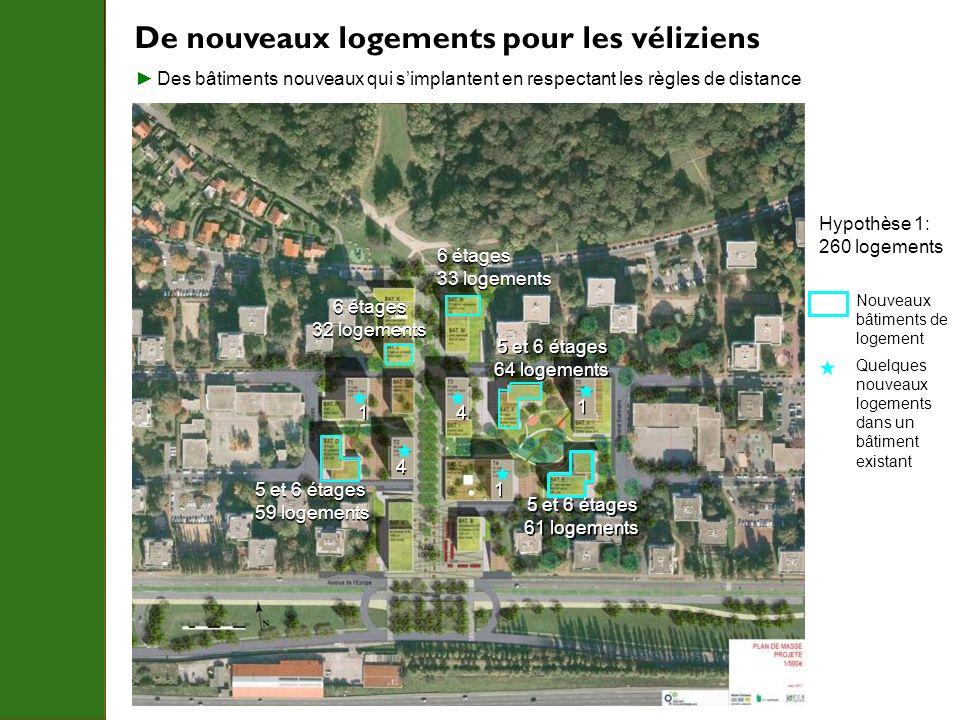 De nouveaux logements pour les véliziens Nouveaux bâtiments de logement Quelques nouveaux logements dans un bâtiment existant Hypothèse 1: 260 logemen
