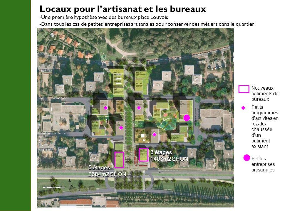 Locaux pour lartisanat et les bureaux -Une première hypothèse avec des bureaux place Louvois -Dans tous les cas de petites entreprises artisanales pou