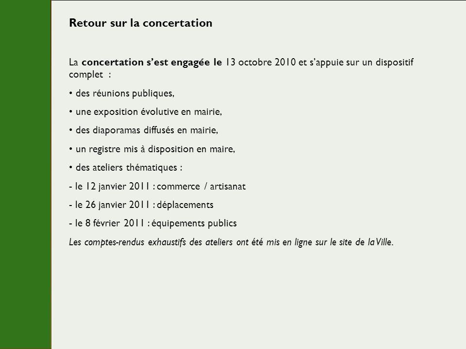 Retour sur la concertation La concertation sest engagée le 13 octobre 2010 et sappuie sur un dispositif complet : des réunions publiques, une expositi