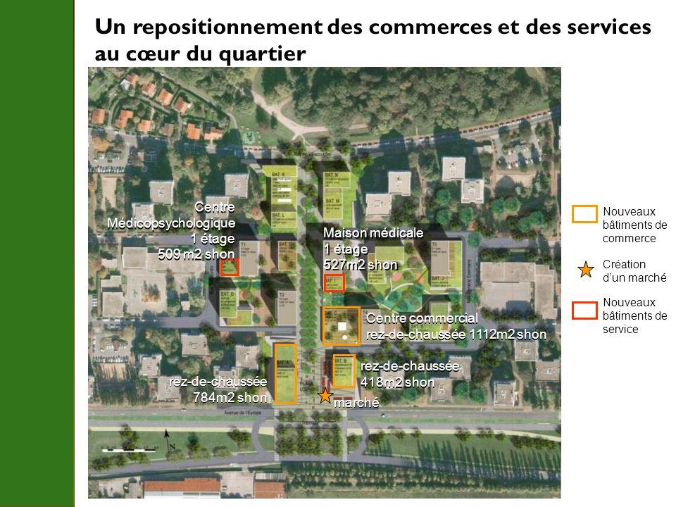 Un repositionnement des commerces et des services au cœur du quartier Nouveaux bâtiments de commerce rez-de-chaussée 784m2 shon rez-de-chaussée 784m2