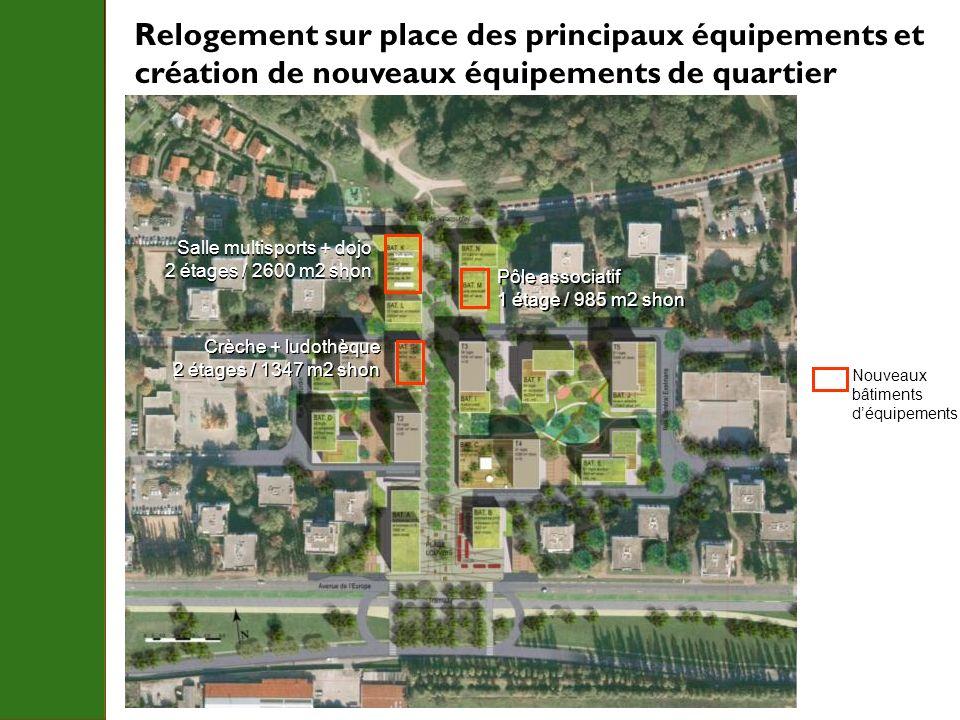 Relogement sur place des principaux équipements et création de nouveaux équipements de quartier Nouveaux bâtiments déquipements Salle multisports + do
