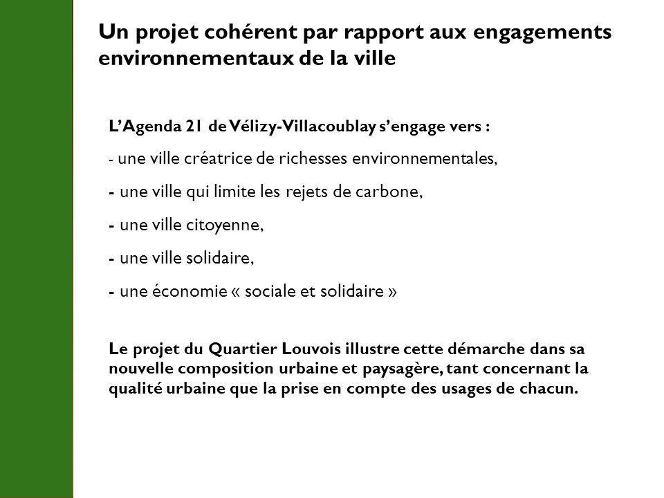 Un projet cohérent par rapport aux engagements environnementaux de la ville LAgenda 21 de Vélizy-Villacoublay sengage vers : - une ville créatrice de