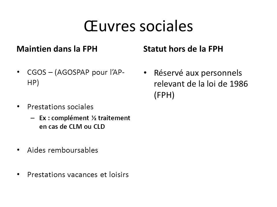 Œuvres sociales Maintien dans la FPH CGOS – (AGOSPAP pour lAP- HP) Prestations sociales – Ex : complément ½ traitement en cas de CLM ou CLD Aides remb