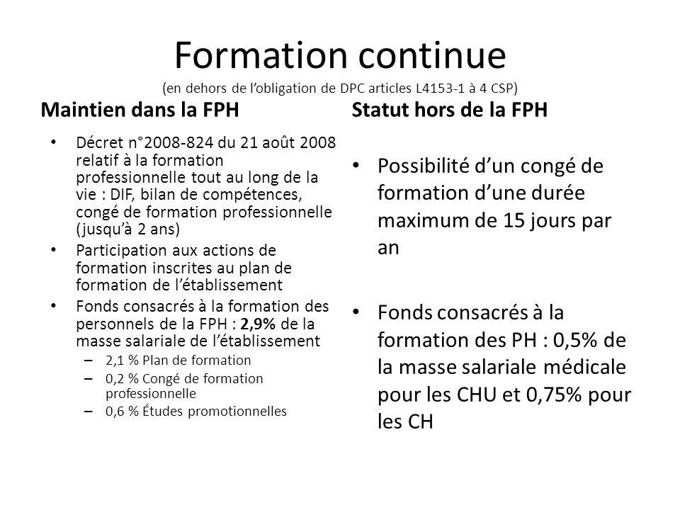 Formation continue (en dehors de lobligation de DPC articles L4153-1 à 4 CSP) Maintien dans la FPH Décret n°2008-824 du 21 août 2008 relatif à la form