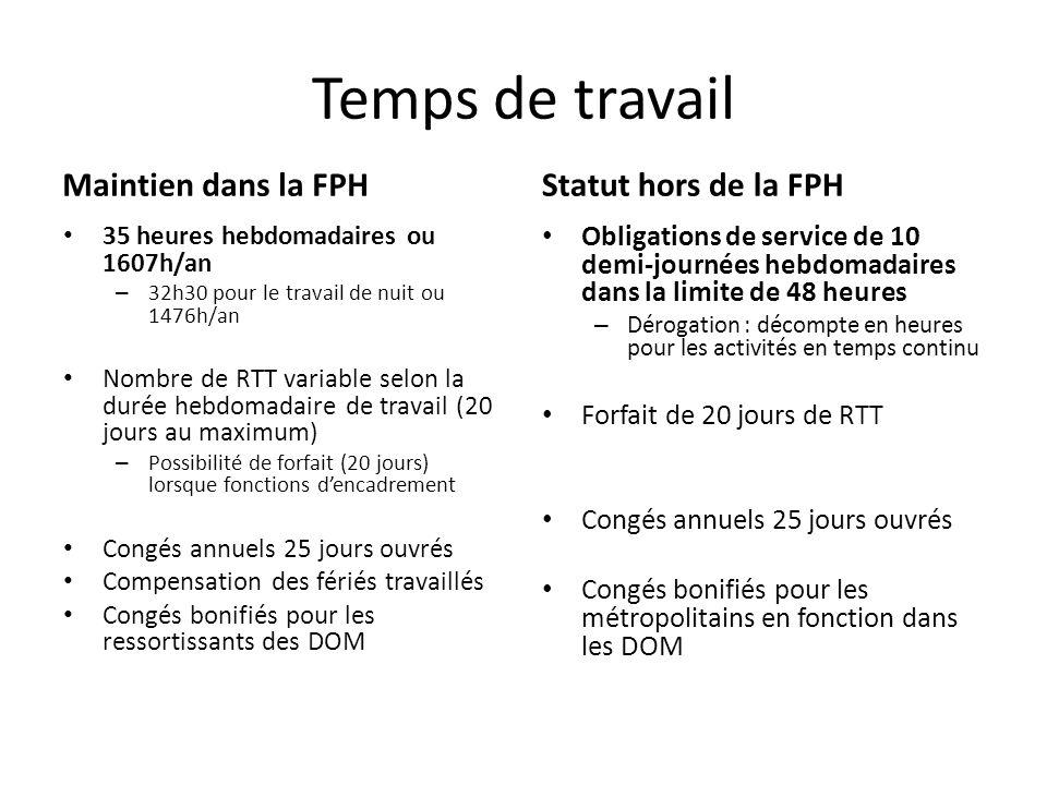 Temps de travail Maintien dans la FPH 35 heures hebdomadaires ou 1607h/an – 32h30 pour le travail de nuit ou 1476h/an Nombre de RTT variable selon la