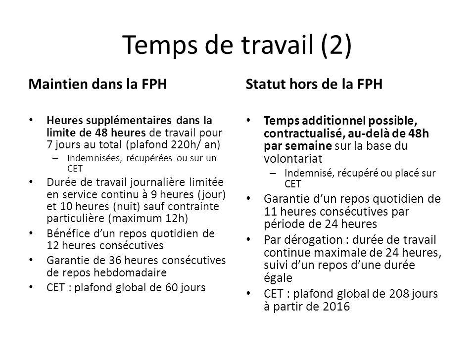 Temps de travail (2) Maintien dans la FPH Heures supplémentaires dans la limite de 48 heures de travail pour 7 jours au total (plafond 220h/ an) – Ind