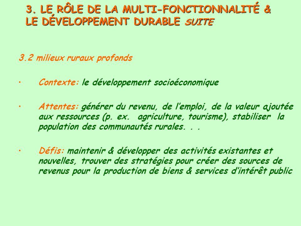 3. LE RÔLE DE LA MULTI-FONCTIONNALITÉ & LE DÉVELOPPEMENT DURABLE SUITE 3.2 milieux ruraux profonds Contexte: le développement socioéconomique Attentes
