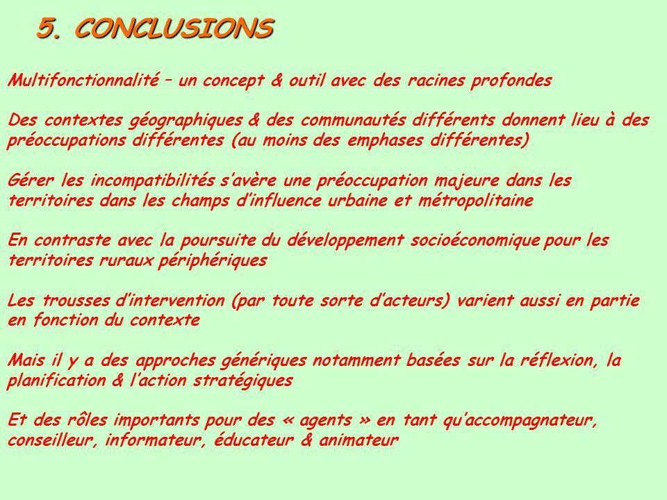 5. CONCLUSIONS Multifonctionnalité – un concept & outil avec des racines profondes Des contextes géographiques & des communautés différents donnent li