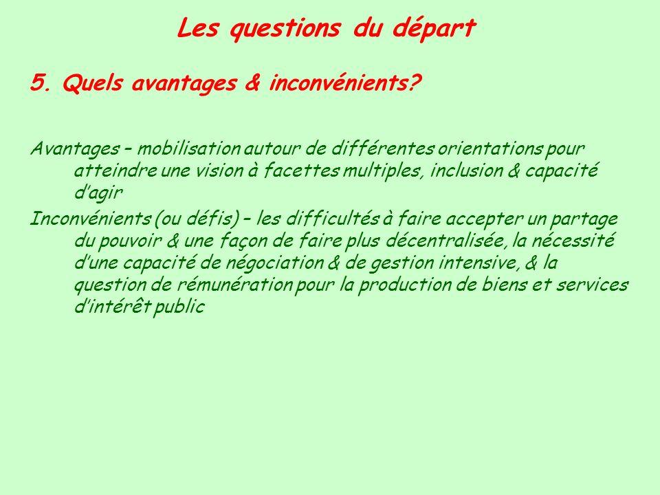 Les questions du départ 5. Quels avantages & inconvénients? Avantages – mobilisation autour de différentes orientations pour atteindre une vision à fa