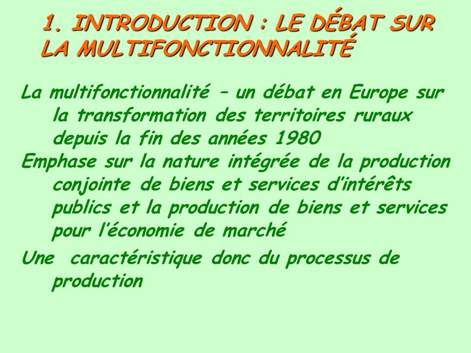 1. INTRODUCTION : LE DÉBAT SUR LA MULTIFONCTIONNALITÉ La multifonctionnalité – un débat en Europe sur la transformation des territoires ruraux depuis