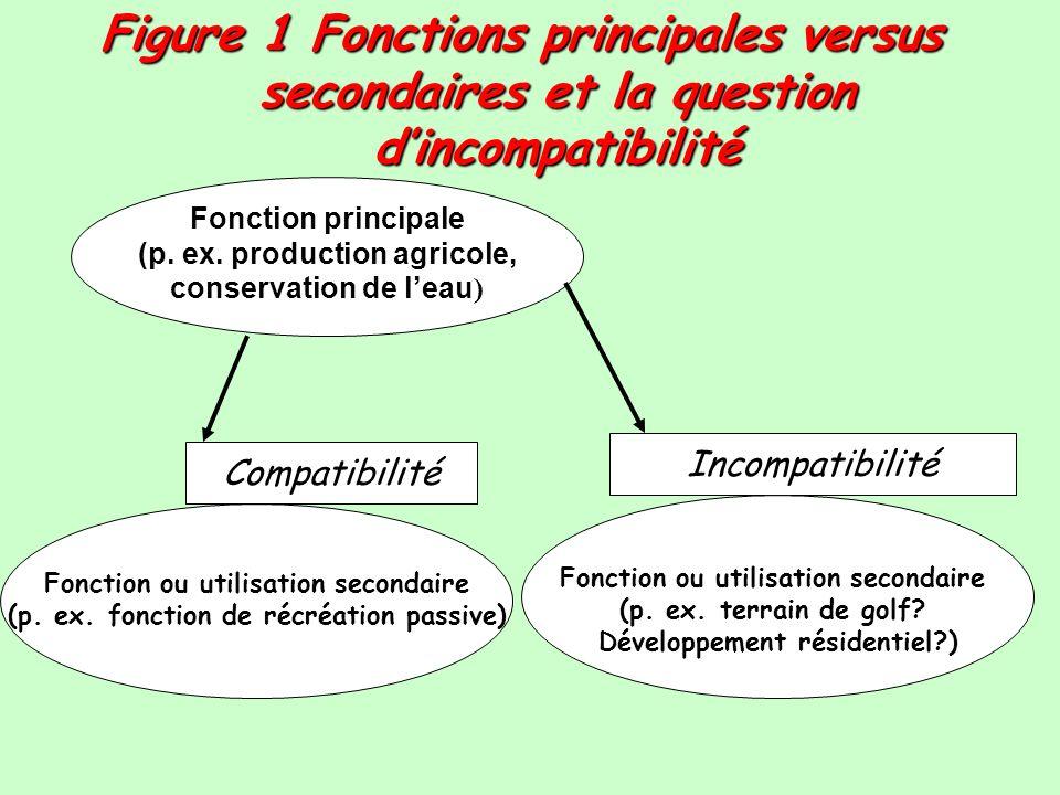 Figure 1 Fonctions principales versus secondaires et la question dincompatibilité Fonction principale (p. ex. production agricole, conservation de lea