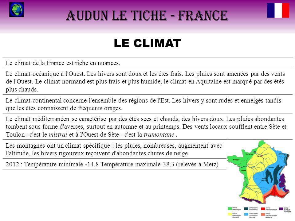 LE CLIMAT Le climat de la France est riche en nuances. Le climat océanique à l'Ouest. Les hivers sont doux et les étés frais. Les pluies sont amenées