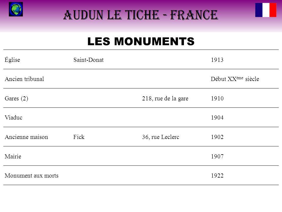 LES MONUMENTS ÉgliseSaint-Donat1913 Ancien tribunalDébut XX ème siècle Gares (2)218, rue de la gare1910 Viaduc1904 Ancienne maisonFick36, rue Leclerc1