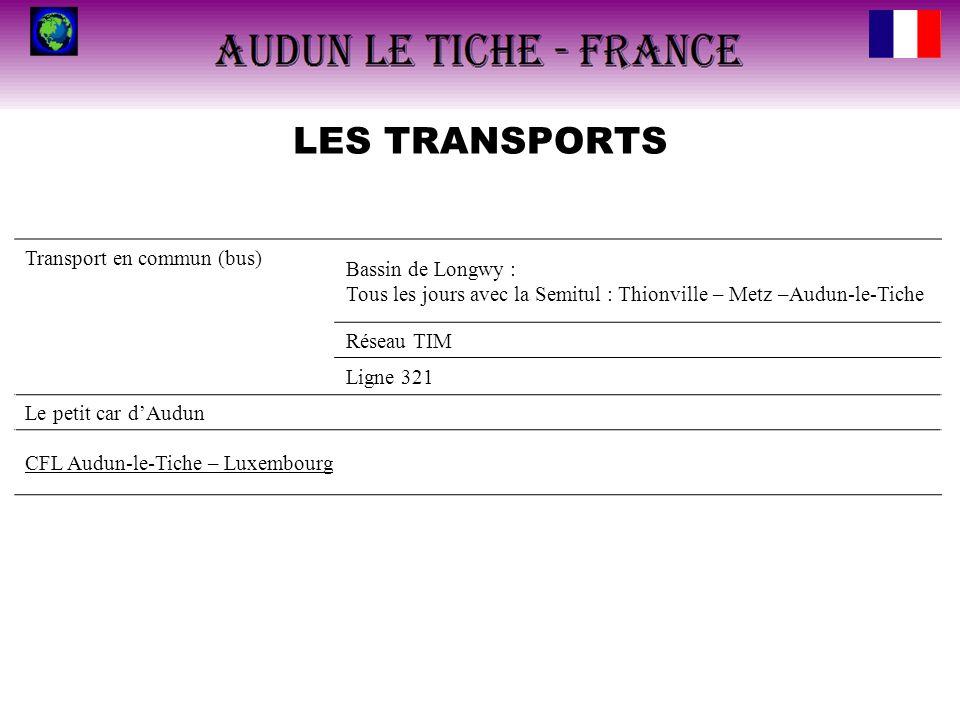 LES TRANSPORTS Transport en commun (bus) Bassin de Longwy : Tous les jours avec la Semitul : Thionville – Metz –Audun-le-Tiche Réseau TIM Ligne 321 Le