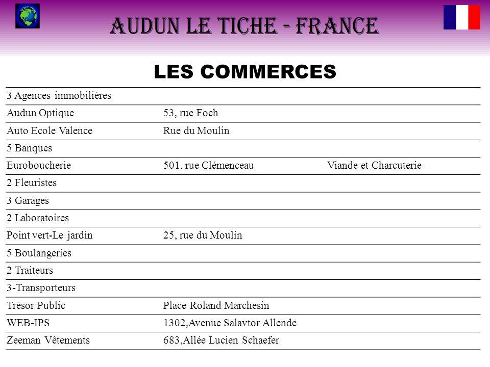 LES COMMERCES 3 Agences immobilières Audun Optique53, rue Foch Auto Ecole ValenceRue du Moulin 5 Banques Euroboucherie501, rue ClémenceauViande et Cha