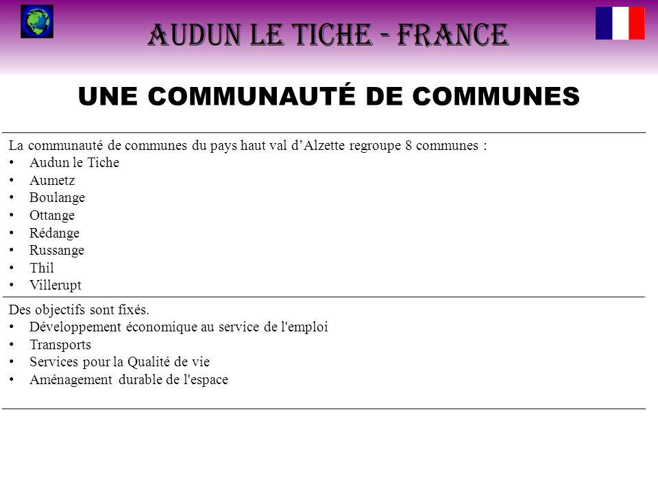 UNE COMMUNAUTÉ DE COMMUNES La communauté de communes du pays haut val dAlzette regroupe 8 communes : Audun le Tiche Aumetz Boulange Ottange Rédange Ru