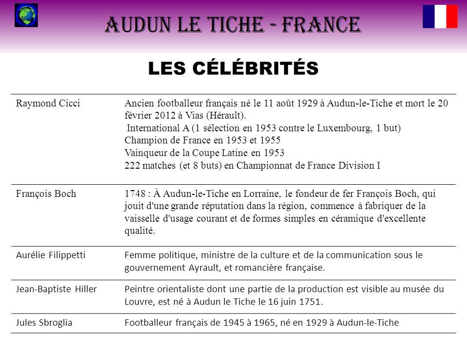 LES CÉLÉBRITÉS Raymond CicciAncien footballeur français né le 11 août 1929 à Audun-le-Tiche et mort le 20 février 2012 à Vias (Hérault). International