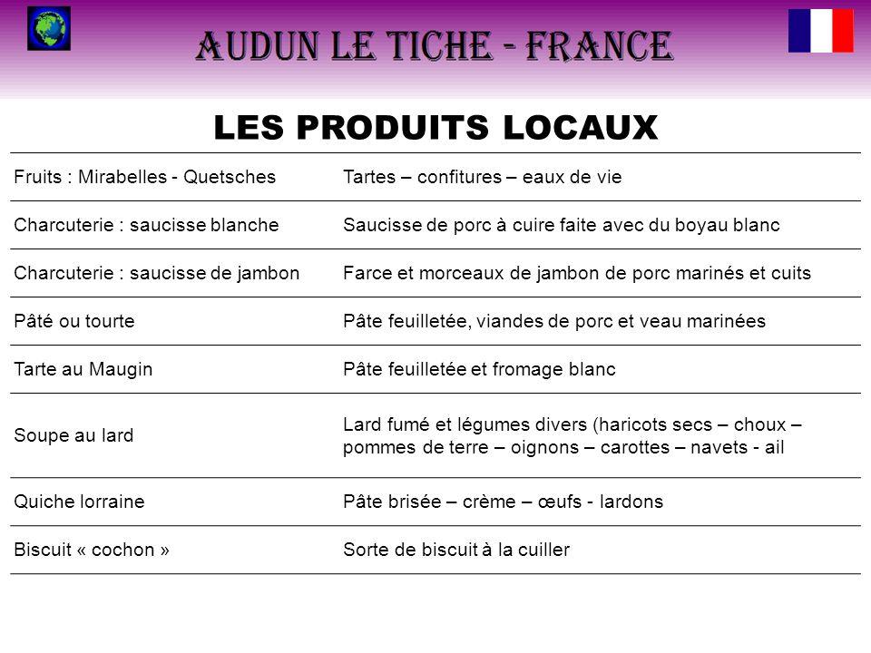 LES PRODUITS LOCAUX Fruits : Mirabelles - QuetschesTartes – confitures – eaux de vie Charcuterie : saucisse blancheSaucisse de porc à cuire faite avec
