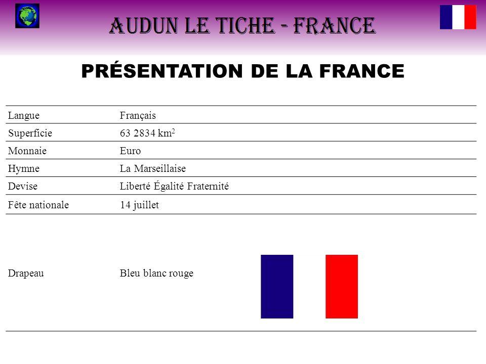 PRÉSENTATION DE LA FRANCE LangueFrançais Superficie63 2834 km 2 MonnaieEuro HymneLa Marseillaise DeviseLiberté Égalité Fraternité Fête nationale14 jui