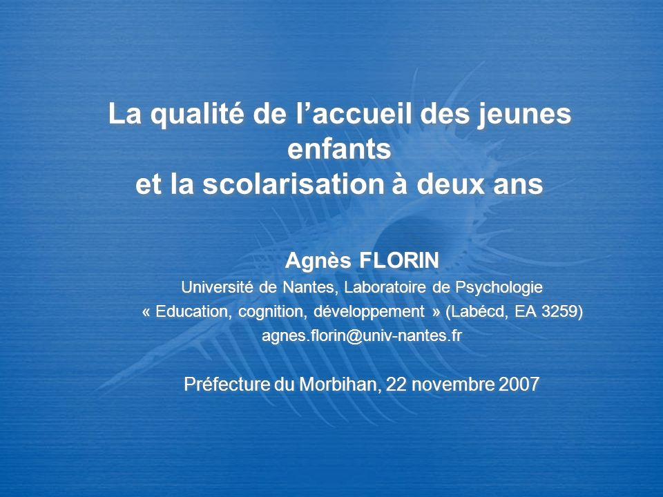 Socialisation et attachement Pas plus dagressivité en accueil collectif / individuel (revue de question, cf.