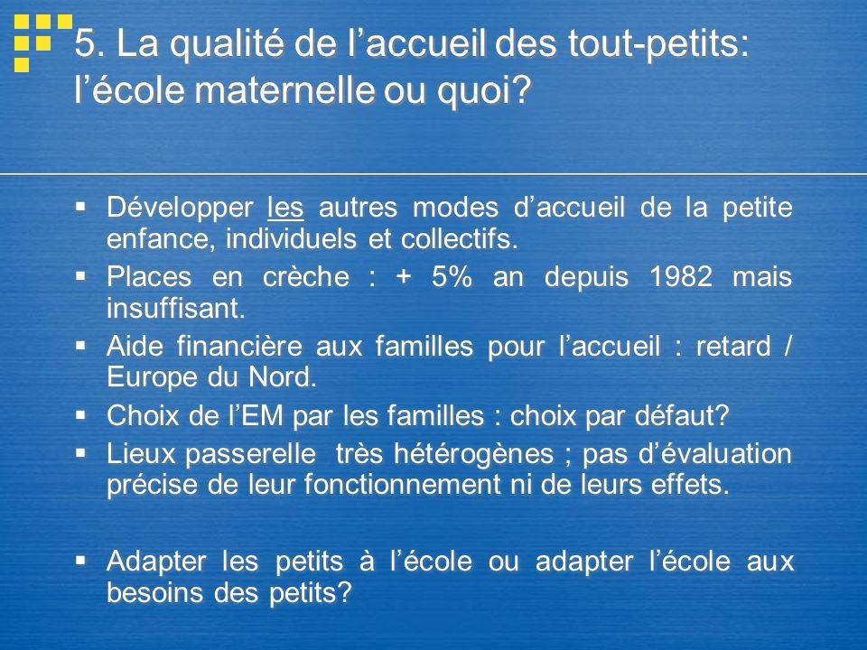 5.La qualité de laccueil des tout-petits: lécole maternelle ou quoi.