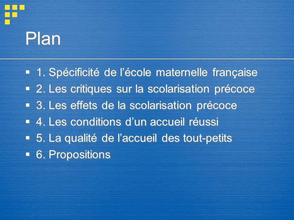 1.Lécole maternelle française : sa spécificité Replacer la question de la scolarisation précoce par rapport à la spécificité de lécole maternelle (EM) française.