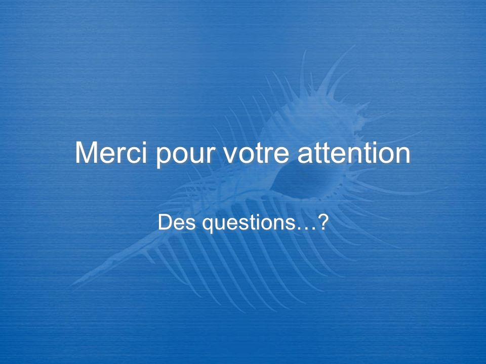 Merci pour votre attention Des questions…?