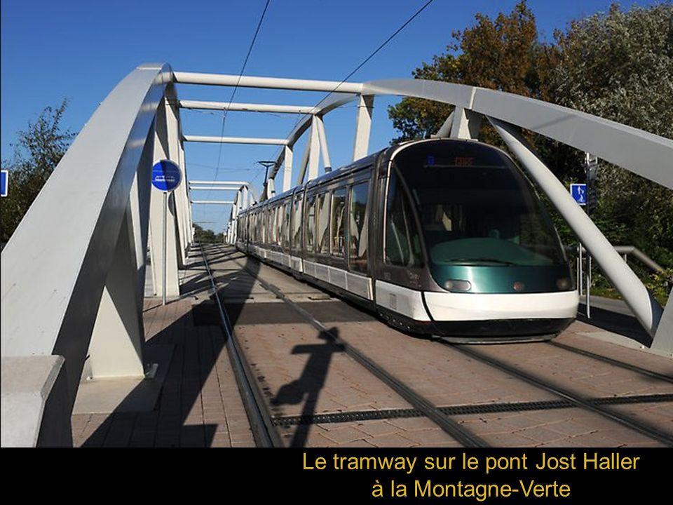 Le tramway sur le pont Jost Haller à la Montagne-Verte