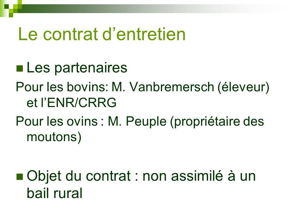Les partenaires Pour les bovins: M. Vanbremersch (éleveur) et lENR/CRRG Pour les ovins : M. Peuple (propriétaire des moutons) Objet du contrat : non a