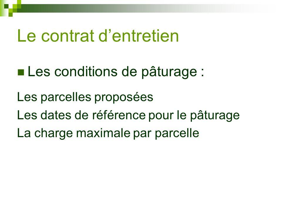 Les conditions de pâturage : Les parcelles proposées Les dates de référence pour le pâturage La charge maximale par parcelle