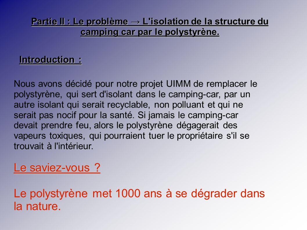 Partie II : Le problème L isolation de la structure du camping car par le polystyrène.