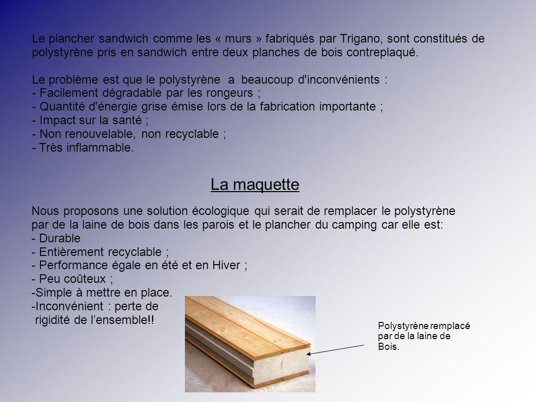 La maquette Nous proposons une solution écologique qui serait de remplacer le polystyrène par de la laine de bois dans les parois et le plancher du camping car elle est: - Durable - Entièrement recyclable ; - Performance égale en été et en Hiver ; - Peu coûteux ; -Simple à mettre en place.