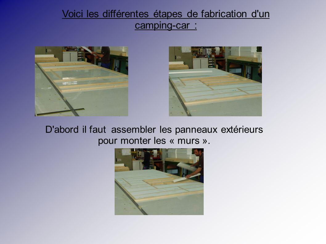 Voici les différentes étapes de fabrication d un camping-car : D abord il faut assembler les panneaux extérieurs pour monter les « murs ».