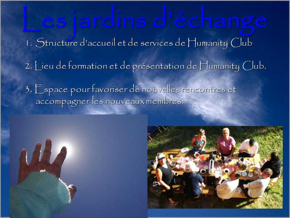 1.Structure daccueil et de services de Humanity Club 2. Lieu de formation et de présentation de Humanity Club. 3. Espace pour favoriser de nouvelles r