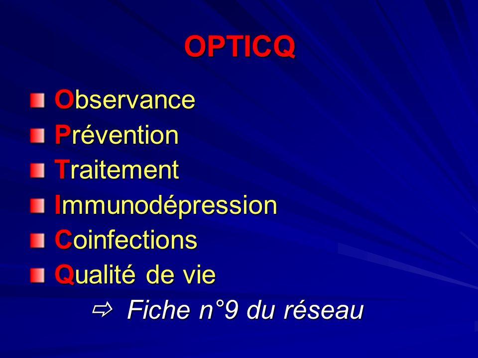 OPTICQ Observance Observance Prévention Prévention Traitement Traitement Immunodépression Immunodépression Coinfections Coinfections Qualité de vie Qualité de vie Fiche n°9 du réseau Fiche n°9 du réseau