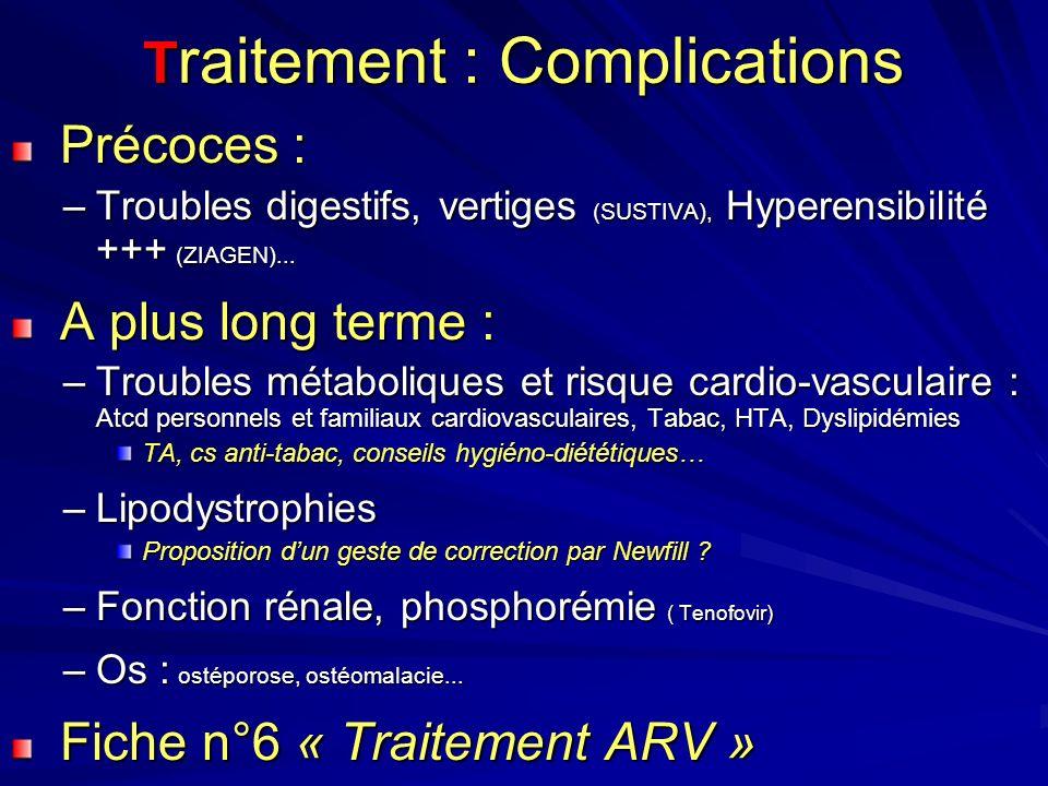 T raitement : Complications Précoces : Précoces : –Troubles digestifs, vertiges (SUSTIVA), Hyperensibilité +++ (ZIAGEN)...